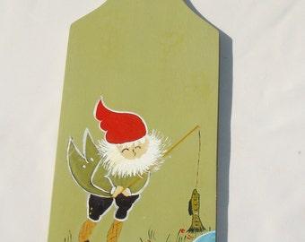 Hand Painted Wooden Gnome Plaque - Vintage Decor
