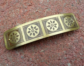 Flower Wheels XL Etched Brass Hair Barrette.  Extra large hand etched artisan metal barrette with flower circle design.
