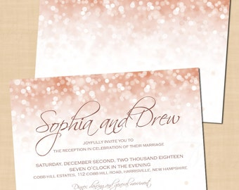 Rose Gold Sparkles Wedding Reception Invitation (6x4, Landscape): Text-Editable in Word, Printable on Avery Postcard, Instant Download