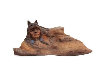 Vintage Gift of the Wolf Sculpture Neil J Rose Limited Edition Resin Figurine Native American Indian