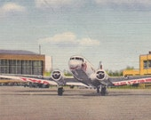 "Ca. 1955 ""Harrisburg Airport W/ TWA Plane"" Harrisburg, PA Topographical Picture Postcard - 2425"