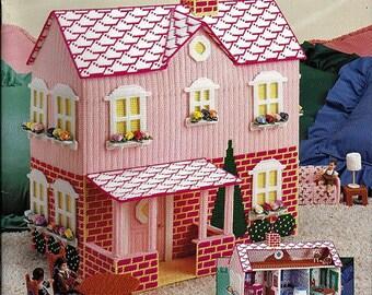 My Pink Dollhouse in Plastic Canvas Pattern Book American School of Needlework 3119