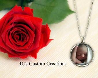 20 mm Round Mini  Photo Pendant, Photo Necklace, Custom Photo Jewelry, Personalized Keepsake Jewelry, Picture Necklace, Photo Jewelry
