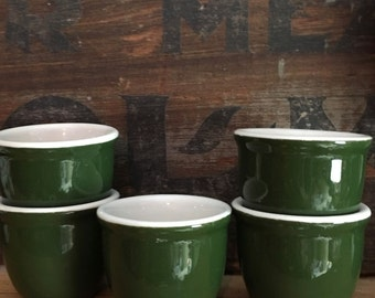 Old Shenango  Green and White Custard Cups or Pots de Crème for Pudding, Set of Five