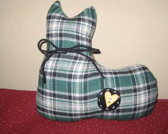 Cat Plush - Green Plaid - Stuffed Cat - Shelf Sitter - Ready to Ship