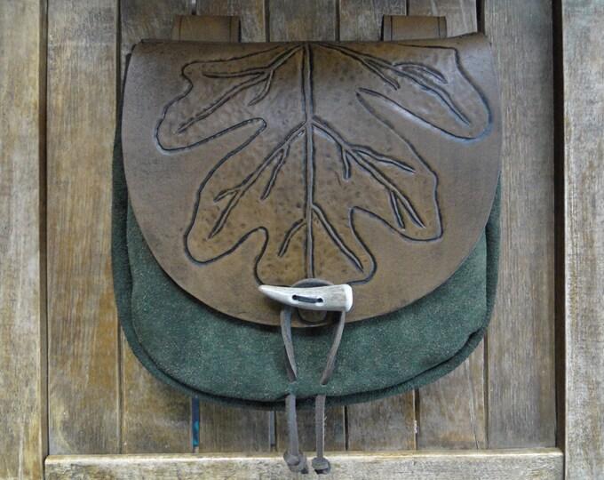 Leaf Leather Pouch, Medieval Renaissance Fantasy Belt Bag, Tooled - Deluxe