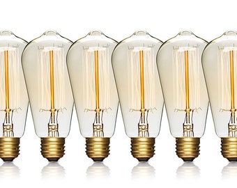 FREE SHIP - Edison Light Bulbs, 6 Pk, 60 Watts, Incandescent, Vintage Bulbs, Antique, Pendant Lights, Chandeliers, Industrial Lighting