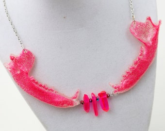 Hot Pink Crystal Faux Raccoon Jaw Statement Necklace