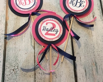 GIRLY PREPPY PLAID Happy Birthday or Baby Shower {3 Piece Centerpiece} - Pink Navy - Party Packs Available