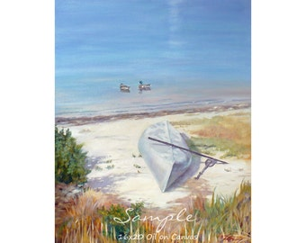 Custom Beach Seascape Oil Painting from Photo Ocean Art Commissioned Sea Painting by Janet Zeh Original Art