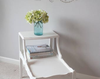 Vintage End Table 2 Tier 1930s White Distressed Bedroom Living Room Furniture Romantic Shabby Chic Cottage French Farmhouse Style