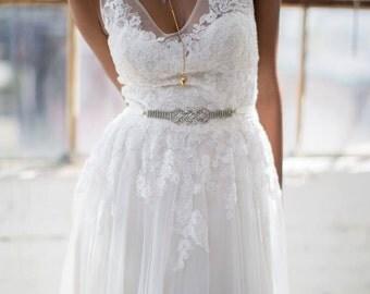 Bridal Belt~Vintage rhinestone, boho wedding, bridal headband, wedding headband, rhinestone bridal headband, bridal headpiece