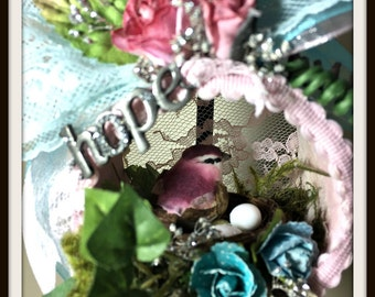 Mini Floral Wall Decor, Small Floral Arrangement, Easter Gift, Shabby Pink and Turquoise, Bird Nest, Inspirational Wall Arrangements