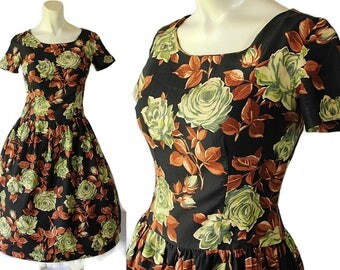 50s 60s Dress, Made in France, Floral Print, Mad Men, Dropped Waist, Paris