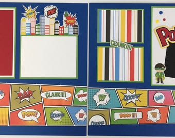 Pre-made Superhero Scrapbook Page Layout 2 pages 12x12 Little Boy