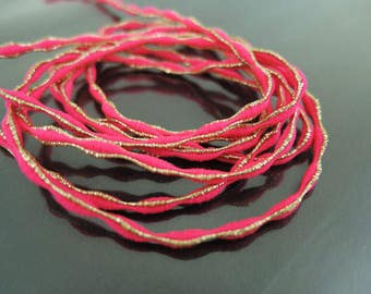 Elastic Cord 2.5mm - Neon Pink with Metallic Gold Stretch Elastic Drawcord Rope Cord ( 1 , 5 or 10 Yards )