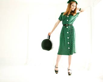 Vintage green 1940s dress, white polka dots, short sleeve midi, forest M L XL