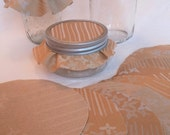Dozen Jar Toppers, Gold & Powder Blue Fabric Circles for Canning, Gift in a Jar, YoYo, FREE Shipping