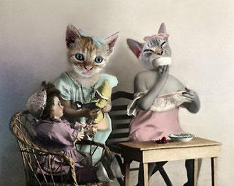 Sisters, Vintage Cat Print, Anthropomorphic, Photo Collage, Cats Having Tea, Whimsical Art, Cat Art, Kitten Sisters, Digital Collage