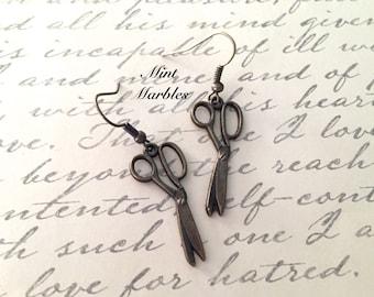 Vintage Style Scissor Earrings. Charm Earrings. Sewing. Crafting. DIY. Brass. Gift. Oddities. Under 10. Dainty. Scissor Jewelry