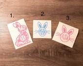 Easter Bunny Monogram Vinyl Decal, Rabbit, Bunny Ears, 3 options, Yeti Decal, Spring, Easter Basket Decor Monogram iPhone