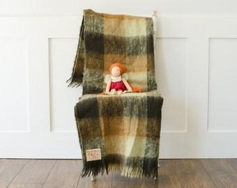 Vintage Kerrymuire Plaid Mohair Blanket Throw Onkaparinga Green Blanket - Made in Australia