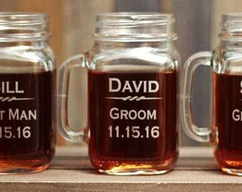 Groomsmen Rustic Wedding Mason Jar Gifts Custom Engraved Outdoor Barn Wedding Mason Jars - ANY QUANTITY - 16oz Glass Mason Jars with Handle