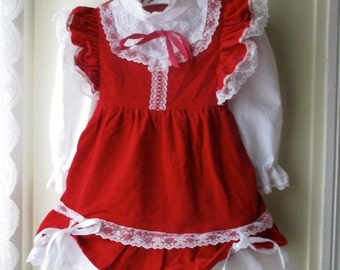 ON SALE Vintage red velvet dress / New Old Stock red & white ruffle lace party dress / Christmas Holiday dress / baby girl 12 to 24 months