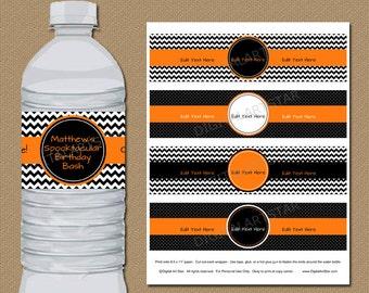 Halloween Birthday Water Bottle Labels, Boy Birthday Halloween Party Decor, DIY Halloween Drink Labels, Orange Black Birthday Party Favors
