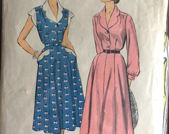 """1950's Advance One-Piece Shirt-waist Dress with Scalloped Collar, Sleeves, and Trim Pattern - Bust 32"""" - No. 6260"""