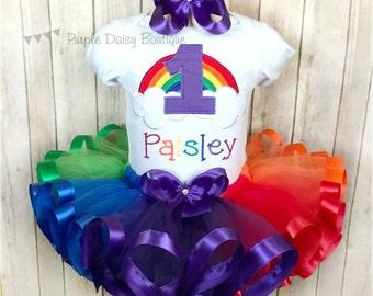 Rainbow First Birthday Ribbon Trim Tutu Outfit - Rainbow Baby Birthday Outfit - Rainbow Tutu - Second Birthday- Third Birthday