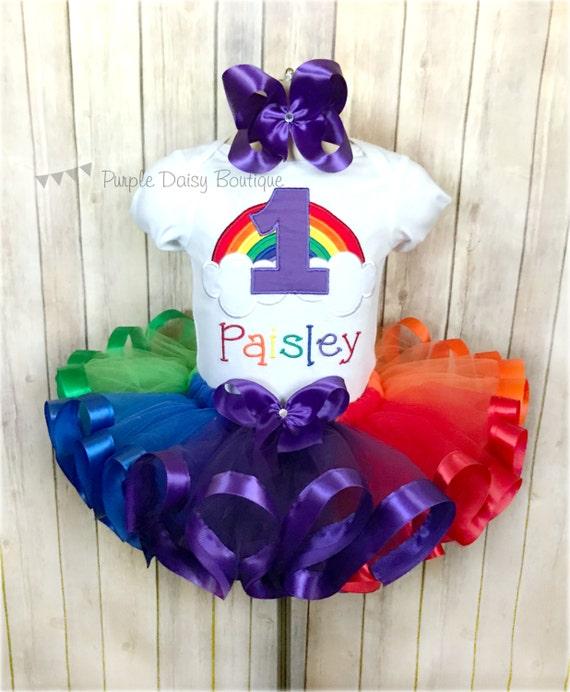 Rainbow First Birthday Ribbon Trim Tutu Outfit