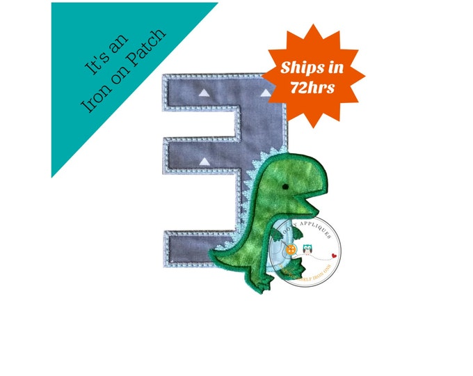 Dinosaur birthday number three machine embroidered patch, fast shipping iron on Dino birthday applique, green and gray number 3