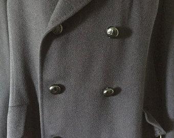 Turnbull & Asser for Bonwit Teller Black Double Breasted Wool Coat Size 14