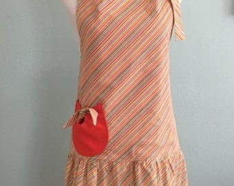 Womens Cute Full Retro Apron, Kitchen Cooking Aprons, Vintage Style Striped Flirty Apron, Chef Apron, Home and Living, Womens Gift,