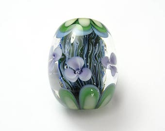 Large Lampwork Glass Floral Bead