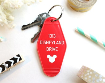 1313 Disneyland Drive Key Tag - Red Mickey Mouse Keychain