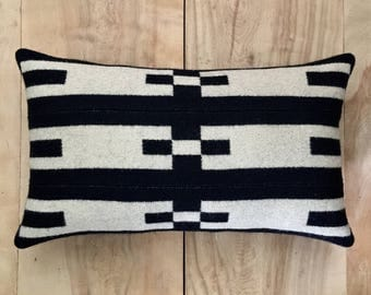Portland Collection Fabric Pillow - Black Beige Geometric Tribal Modern