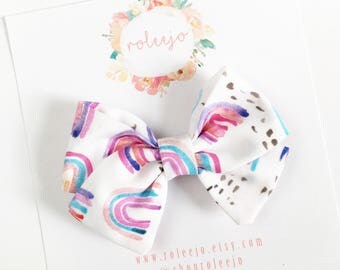 Over the Rainbow Sailor Bow; Baby Girl, Toddler, Girl Hair Accessories