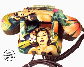 Hawaii Pin Up Girls Vintage Rotary Phone FULLY WORKING - Unique Home Decor