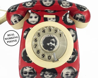 Unique Custom Vintage Doll Face Red Vintage Rotary Phone FULLY WORKING