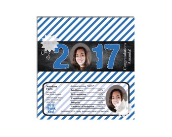 2017 Graduation Photo Candy Bar Wrappers, Printable Candy Wrapper, Graduation Chocolate Bar Wrappers-DIGITAL DOWNLOAD