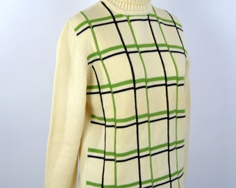 Vintage 1970's Cream Checkered Turtleneck Sweater - Italian Wool Pullover Knit - Size Medium to Small