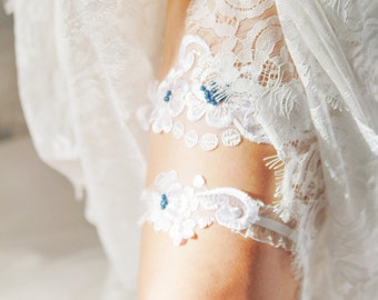 Wedding Garter Set Bridal Garter Set - White Lace Garter Set - Rustic Wedding Garter Vintage Inspired Garter Belt