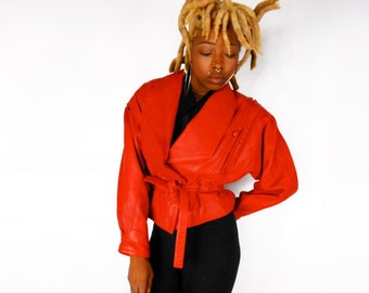 Biker Jacket/ 80s Leather Jacket/ Southwestern Jacket/ Motorcycle Jacket/ Red Leather Jacket/ 90s Leather Jacket/ 90s Club Kid/ Glam Rock