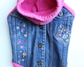 Denim Dog Coat with Pink Sweatshirt Sleeves and Hood