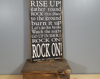 Rock of Ages - Def Leppard - Song Lyrics - Black with White Letters