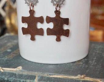 Steampunk Jewelry, Autism Jewelry, Puzzle Piece Earrings, Aspie Jewelry, Steampunk Earrings, Gear Earrings, Puzzle Jewelry, Autism Awareness