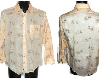 SALE Unworn Vintage Men's 1970s Shirt Volcano Print Cotton Blend K Mart Long Slv Shirt Boho Hippie Disco sz M L chest to 49 in