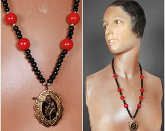 CIRCUS NECKLACE red black brass monkey cameo steampunk